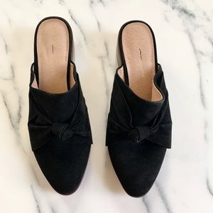 Anthropologie black suede heeled mules